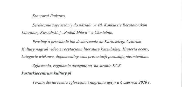 """Konkurs """"Rodnô Mòwa""""nowe wytyczne."""